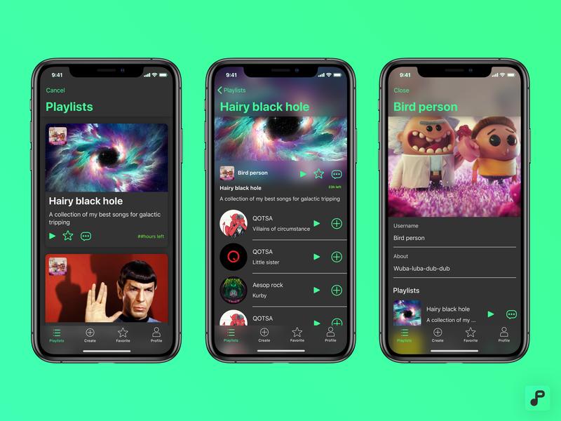 Origen playlist app interaction design playlist music app design ux design product design ios ux ui design app