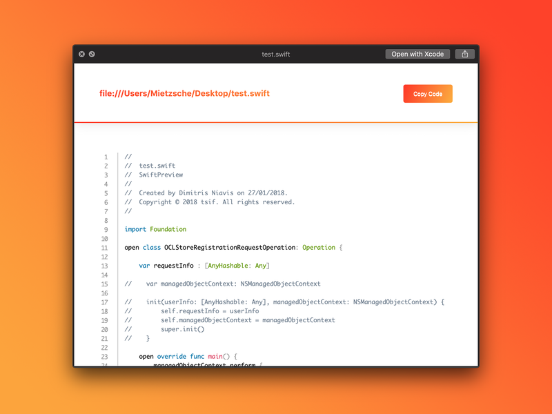 MacOS Swift preview plugin previews quicklook code swift plugin macos preview ux ui design