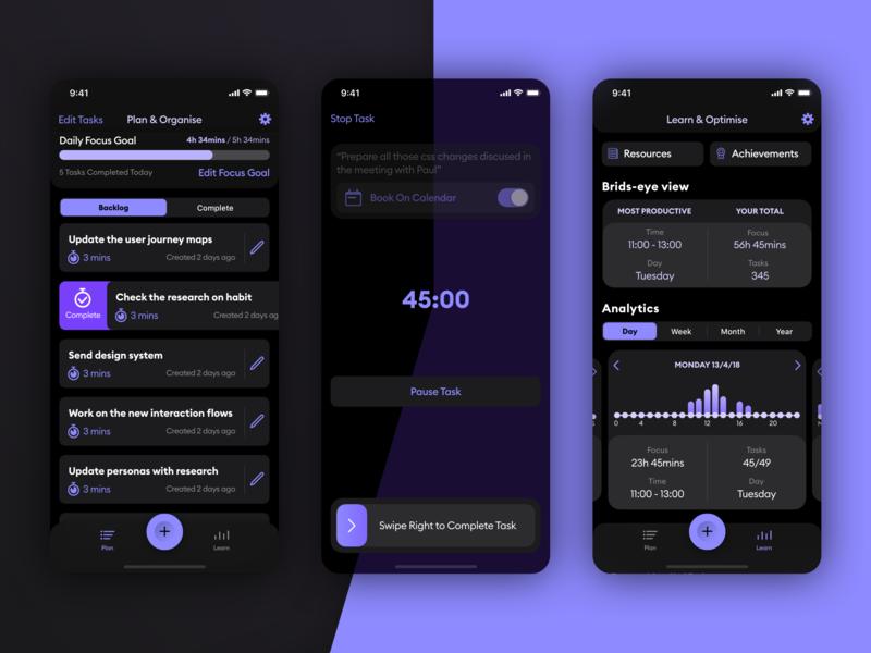 Seque app Dark mode list analystics task tasks goal productivity focus product ios design product design app ui ux