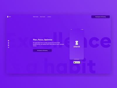 Seque app landing page concept
