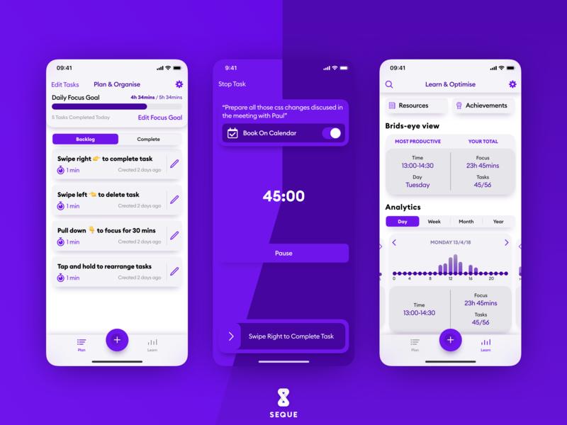 Seque app light mode focus productivity light mode sequeapp seque ixd ux design app design product ios product design app ui design ux