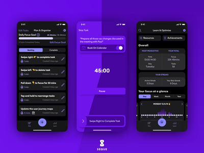 Seque Dark Mode coming soon goals improvement focus productivity ios product design design app ui ux