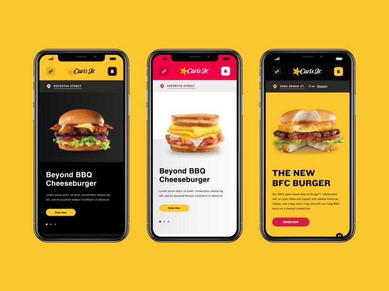 Carl's Jr Website Redesign design minimalistic fast food burger food redesign website ux ui