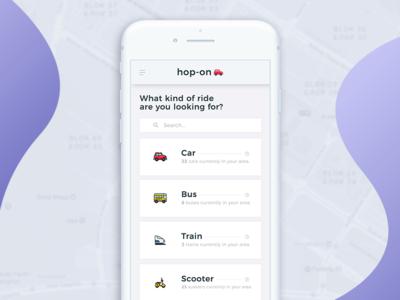 hop-on App UI/UX Design