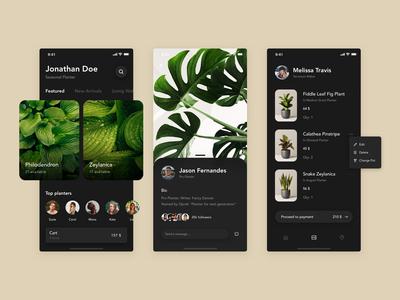Planters App (Dark Mode)