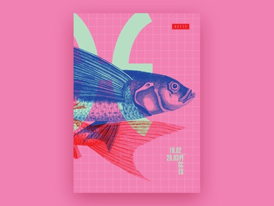Pisces / Zodiac Sign print design posterdesign pisces fish neon colorful pink horoscope zodiac sign poster graphicdesign typography illustration design