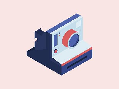 Polaroid isometric illustrator camera polaroid vector illistration