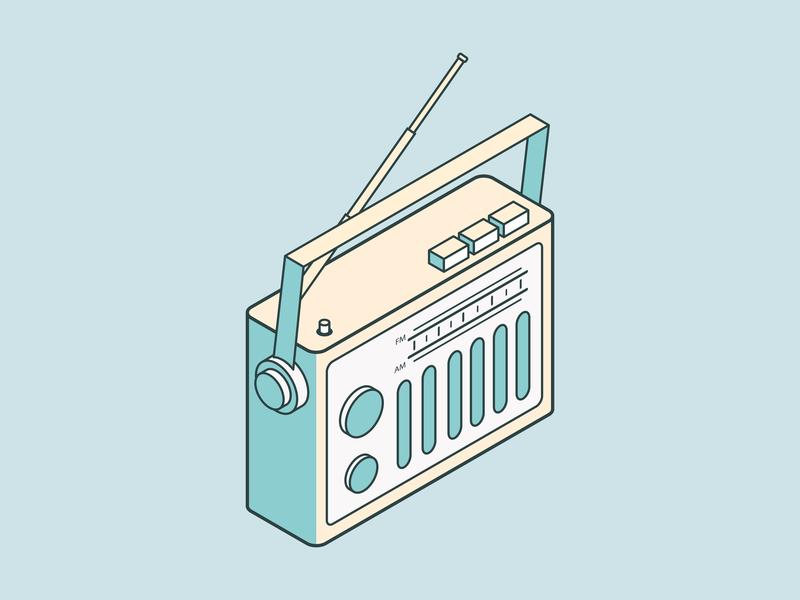 Radio radio illustrator design isometric illistration