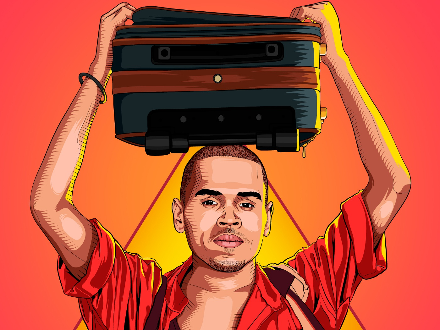 Chris Brown indian hollywood celebrities indian hollywood indian chris brown chris brown character designs indian culture aman rajwansh character concept character art rajwansh art desi kalakaar vector photoshop indian illustrator illustration design art