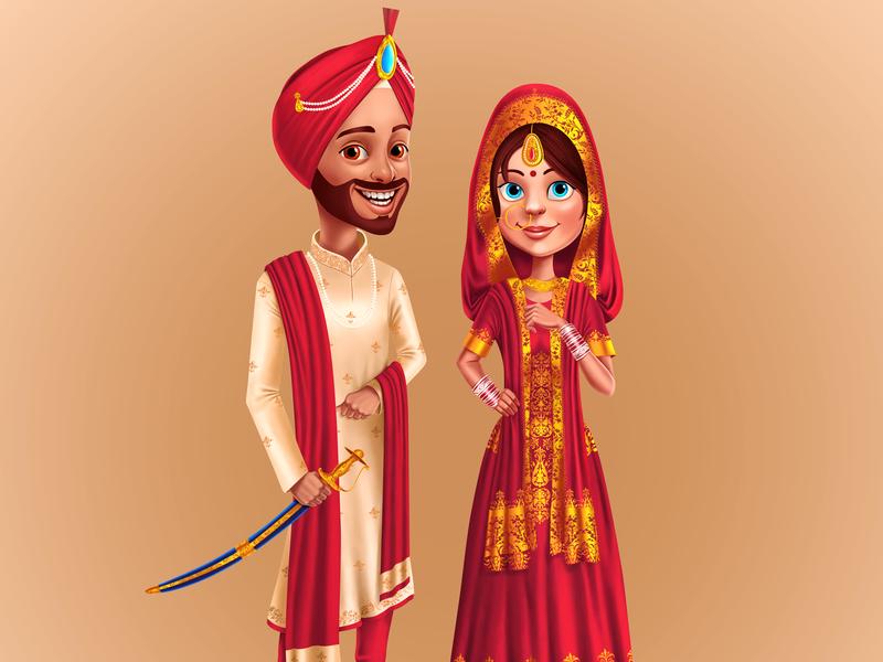Laada Laadi bride  groom bride character design indian culture character concept character art rajwansh art indian vector photoshop illustrator illustration design art punjabi wedding illustration punjab khalsa kaur singh sikh