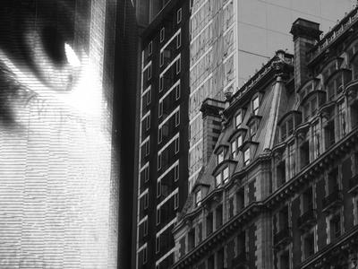 who's watching propaganda plasma system screen government antique manhattan modern eye architecture contrast city