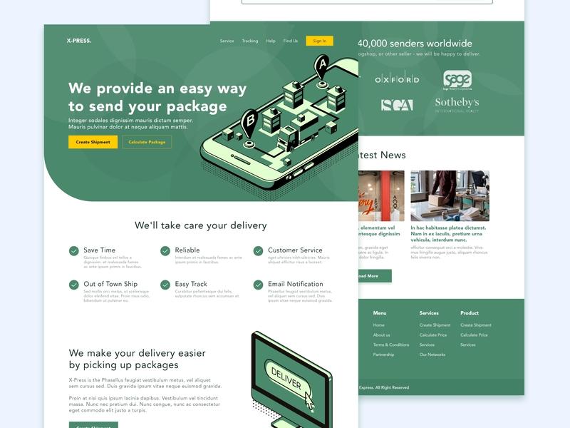 Delivery Company Landing Page logistics app illustrator ux uiux ui modern minimalist illustration services package green flatdesign delivery flat design branding