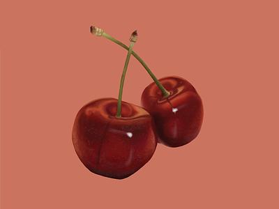 Cherry digital painting cherry illustration fruit