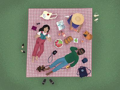 Summer Picnic fruit wine pattern summer picnic texture illustration