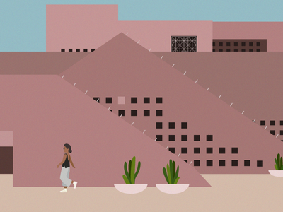 Brutalist & Burnt Browns girl grain cactus brutalist arizona architecture illustration