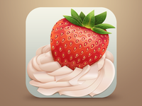 Tasty strawberry ios strawberry red cream leaves icon
