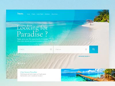 HEAV Paradise holidays sea branding ux ui
