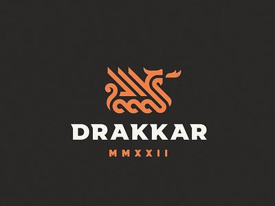 Drakkar ship boat drakkar logo concept dragon