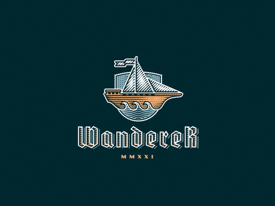 Wanderer sailboat ship logo