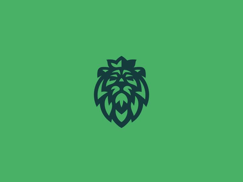 Lion green leon royal concept logo leo lion