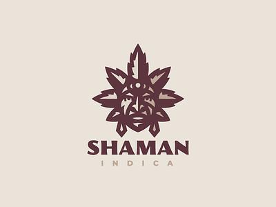 Shaman sativa indica concept cannabis shaman logo