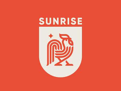 Sunrise rooster logo rooster concept logo sunrise