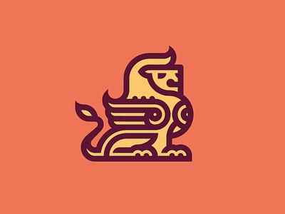 Leo gryphon dragon leo concept lion logo