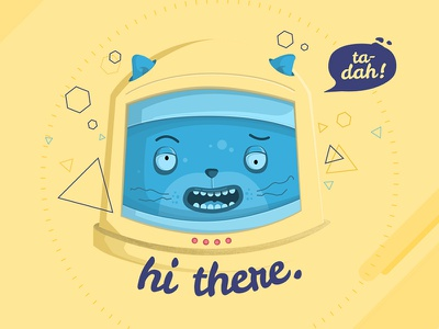 Hi there cat ui illustration astronaut blue yellow odyssey space portfolio