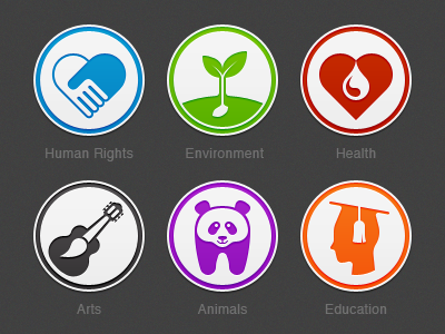 Donation Category Icons icon badge pictogram donation