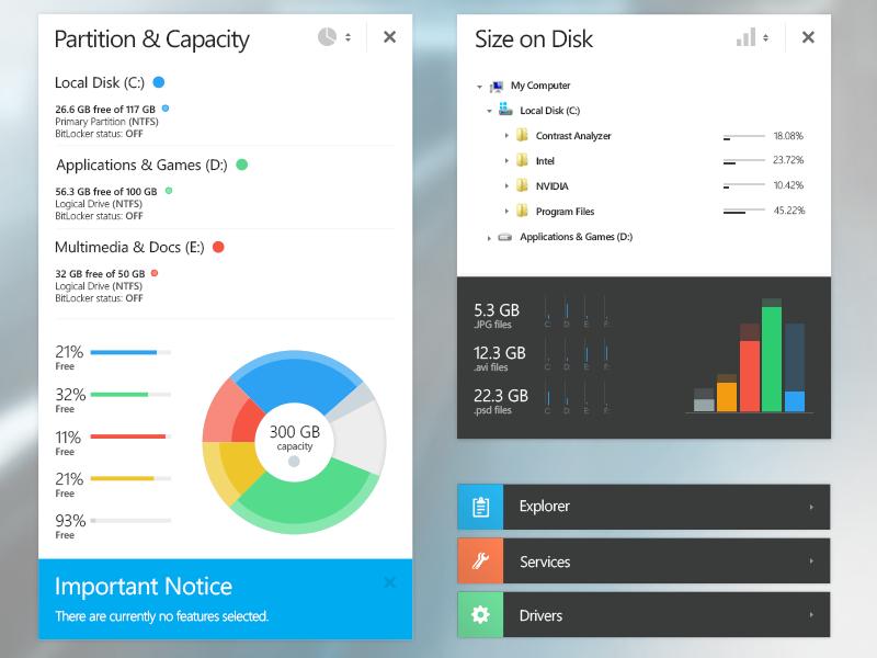 Graphs & Dialog Boxes graphs flat modern ui progress size partition interface clean metro pie chart