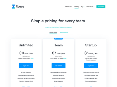 7pace timetracker pricing page time tracker 7pace webdesign pricing plans calculator pricing page modern clean web ui