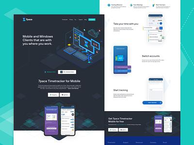 7pace Products Landing Page presentation page clean ui desktop app landingpage mobile app hero design product page 7pace