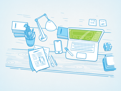 Old Projects on Desk illustration desk lines contour vector clean projects startup