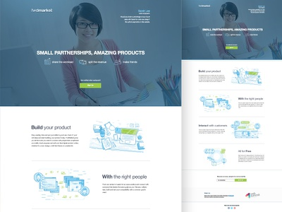 Fwdmarket Landing Page with Illustrations market landing page illustration design clean community product startup partners modern site