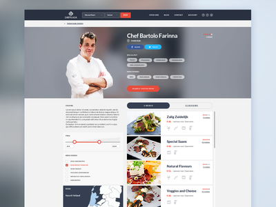 Not Another Chef Page dish product profile gourmet food menus tags cooking filters cook design chef