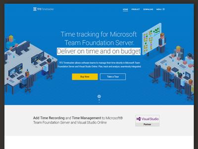 TFS Timetracker Landing Page target clean server homepage design microsoft illustration visual studio developer landing page timetracker