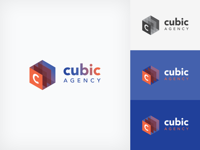 Cubic Agency Logo Variations monochrome variations mark icon cube contrast blue colorful cubic branding logo