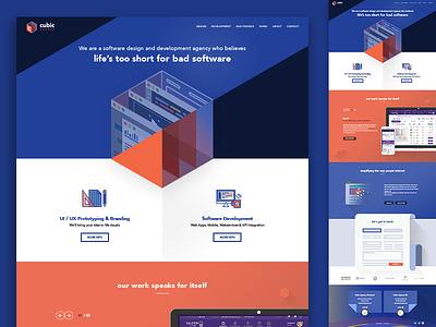 Cubic Agency Landing Page website full page webdesign modern blue agency flat landingpage