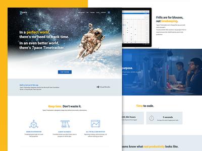 7pace Landing Page code timetracker homepage webdesign 7pace modern blue astronaut flat landingpage