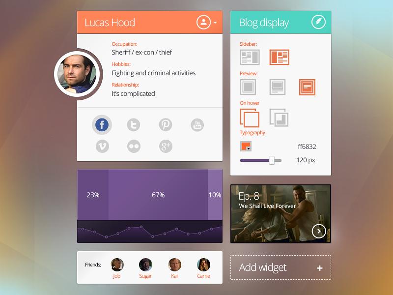 Widgets Ui Kit widget design metro clean create stats blog play add ui interface kit flat