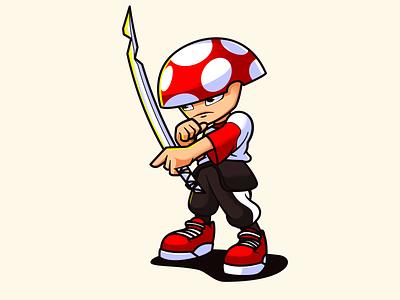 Samurai Shroom characterdesign character mascot mascot bold character-design vector illustrator illustration design character 2d