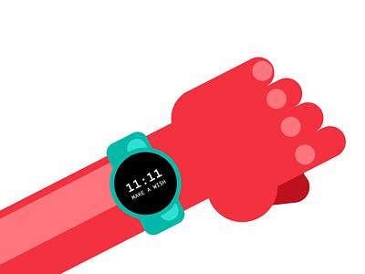 11:11 arm human person time 11:11 wish smartwatch clock watch vector flat 2d geometric flat 2d illustrator illustration design character