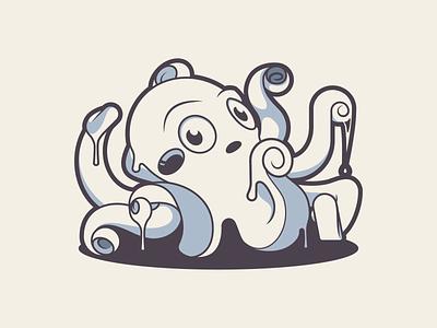 Milky Octopus ocean sea logo octopus mascot vector character-design 2d illustrator illustration design character