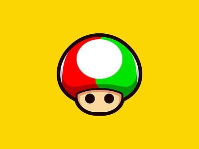 Mixed Mario Mushroom icon design icon bold fun super mario video game gamer gameboy nintendo switch nintendo mushroom kingdom mushroom mario vector illustrator illustration design character 2d
