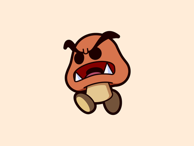 Goomba! video game game fun bold vector art vector iconography icon design icon nintendo switch super mario mario super goomba nintendo illustrator illustration design character 2d