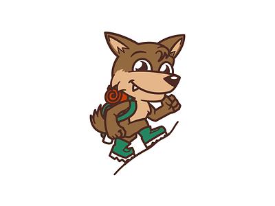 Hiking Coyote branding cartoon fun animal mascot logo flat bold icon design icon flat 2d geometric character-design vector illustrator illustration design character 2d