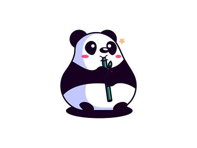 Chubby Panda panda bear panda logo bamboo china panda cartoon animal logo fun mascot icon design icon bold character-design vector illustrator illustration design character 2d