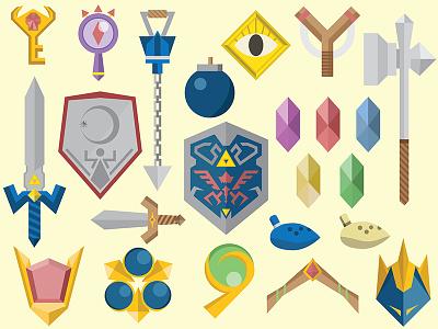 Zelda graphic design designer legend hero hyrule stuff icons illustrator design items ocarina of time zelda
