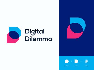 Digital Dilemma Logo Approved   DD Logo bubble logo dd logo d logo d letter monogram logotype simple clean vector logo design digital letter design brand branding gradient mark icon blue logo