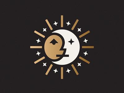 Sun & Moon logo symbol mark ilustration design art face moon sun